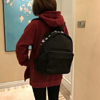 韩版新款简约字母帆布休闲双肩包男女学生书包 纯色印刷双肩背包