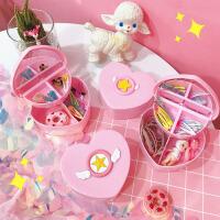 粉红少女心收纳盒 儿童饰品桌面首饰盒少女樱星星爱心收纳盒双层置物盒