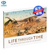 英文原版 DK 穿越时间的生活 Life Through Time 儿童恐龙和巨型生物主题科普绘本 精装 英语百科读物