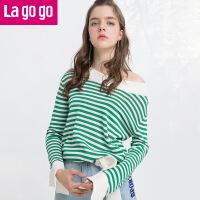 Lagogo/拉谷谷2019春季新款直筒条纹长袖一字领针织衫