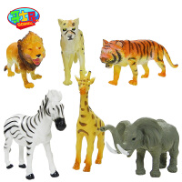 仿真玩具套装老虎狮子豹子鹿大象斑马6只装动物模型野生动物模型