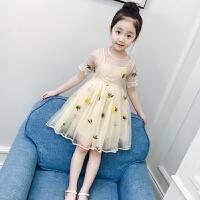 新款洋气童装裙子短袖女孩蓬蓬纱公主裙夏