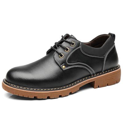新款男皮鞋真皮休闲韩版马丁鞋子男青冬潮流牛筋底百搭英伦工装鞋