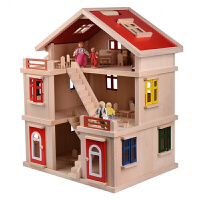 diy木制小屋女孩生日礼物过家家粉色房子别墅儿童玩具木质娃娃屋 出口欧美黄色纸箱包装 黄箱彩色家具