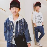 春款童装两件套 男童牛仔外套+连帽卫衣长袖小孩衣服中大童