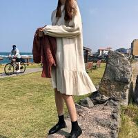 秋冬女装纯色新款韩版宽松长袖中长款棉麻打底裙子学生荷叶边裙潮
