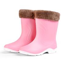 秋冬时尚中筒雨靴短筒女水靴胶鞋套鞋防滑加绒保暖水鞋雨鞋女 粉