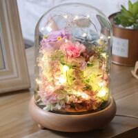 进口永生花玻璃罩康乃馨干花圣诞礼物保鲜玫瑰真花生日情人节礼盒