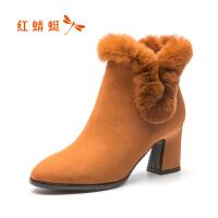 �t蜻蜓女靴冬季新款�W美粗高跟鞋女�r尚兔毛短靴高跟棉靴