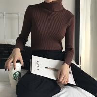 高领打底针织衫女2018秋装新款韩版修身显瘦纯色弹力加厚毛衣 均码