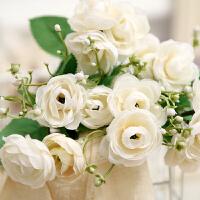 多头把束玫瑰绣球仿真花假花束卉花墙壁绢花艺装饰餐桌婚庆手捧