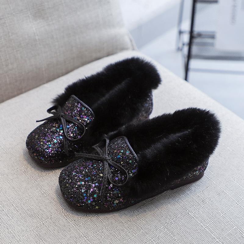 【活动价:87.6】女童棉鞋冬季加绒2019年新款仿兔毛公主毛毛鞋小女孩水钻豆豆鞋儿童冬鞋