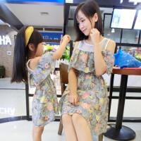 亲子装2018夏装新款韩版母女装夏季沙滩连衣裙显瘦雪纺女童宝宝裙