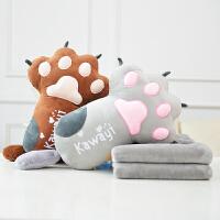 午休靠枕办公室枕头毯子可爱猫爪卡通加厚抱枕被子两用靠垫珊瑚绒