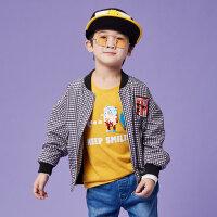 【2件1.5折�r:40,可�B券】moomoo童�b男童外套秋季新款男中大童格�y�r尚潮流拉�棒球衫
