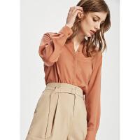 【1件3折到手价:119.7】MECITY女装简约纯色很仙的休闲长袖衬衫
