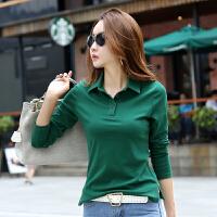翻领t恤女秋装新款修身显瘦女式体恤衫长袖polo领绿色打底衫