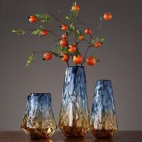 彩色玻璃花瓶摆件客厅桌面北欧美式玻璃花瓶装饰品术插花瓶器 花瓶花艺摆件