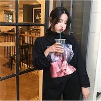 港味春季新款韩版高领宽松BF贴布印花长袖套头T恤女学生打底衫