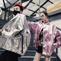 情侣外套新款2018春季男女同款嘻哈银色亮面皮衣夹克薄