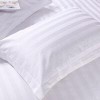 宾馆酒店旅馆床上用品枕套 纯白色棉棉提花缎条枕头套