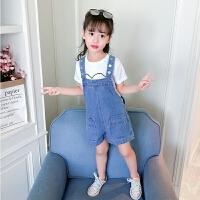 女童牛仔背带短裤套装新款夏装儿童韩版洋气时髦短袖两件套夏