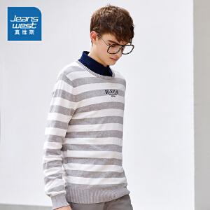 真维斯毛衣男 2018春装 男装圆领印花修身针织衫学生长袖线衫