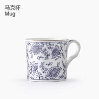欧式精美骨瓷马克杯英式金边红茶杯高档复古咖啡杯青花古典描金 青花单只