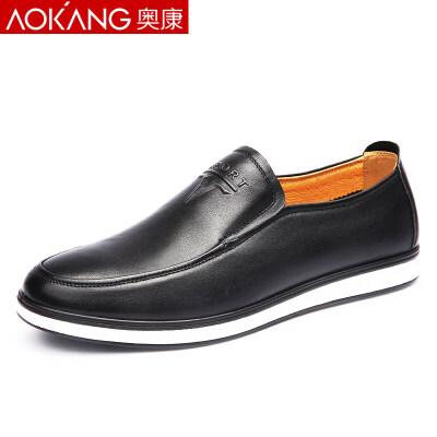 奥康男鞋春季休闲皮鞋男士圆头真皮英伦乐福鞋鞋男休闲皮鞋