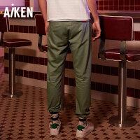 【一件三折】森马旗下Aiken男装休闲裤男纯色纯棉长裤男士青年修身直筒裤子潮