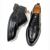男士尖头皮鞋透气黑色英伦布洛克皮鞋内增高新郎婚鞋潮鞋子软底 黑色