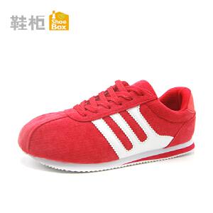 达芙妮集团 鞋柜秋季舒适圆头系带绒面运动女单鞋