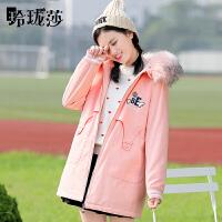 少女棉衣秋冬季加绒加厚中长款毛领宽松韩版初中高中学生外套