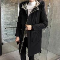 男士羽绒服中长款冬季冬装大毛领迷彩男