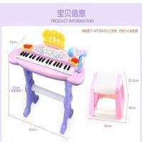 ?儿童多功能电子琴男孩女孩玩具琴麦克风钢琴宝宝玩具1-3-6岁初学? 粉红色 收藏送一把吉他