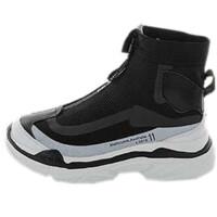 高帮鞋女嘻哈街舞袜子民族风蒙靴弹力休闲运动鞋透气拉链女鞋 黑色