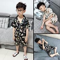 儿童睡衣男童短袖夏季男孩薄款丝绸套装中童宝宝