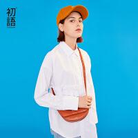 【秒杀价:87.6元】初语白色衬衫女春装新款木耳边长袖拼接中长款纯棉气质衬衣