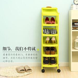 【领券满188减100】ORZ 时尚6层收纳鞋架 塑料带轮可移动鞋柜架 绿色