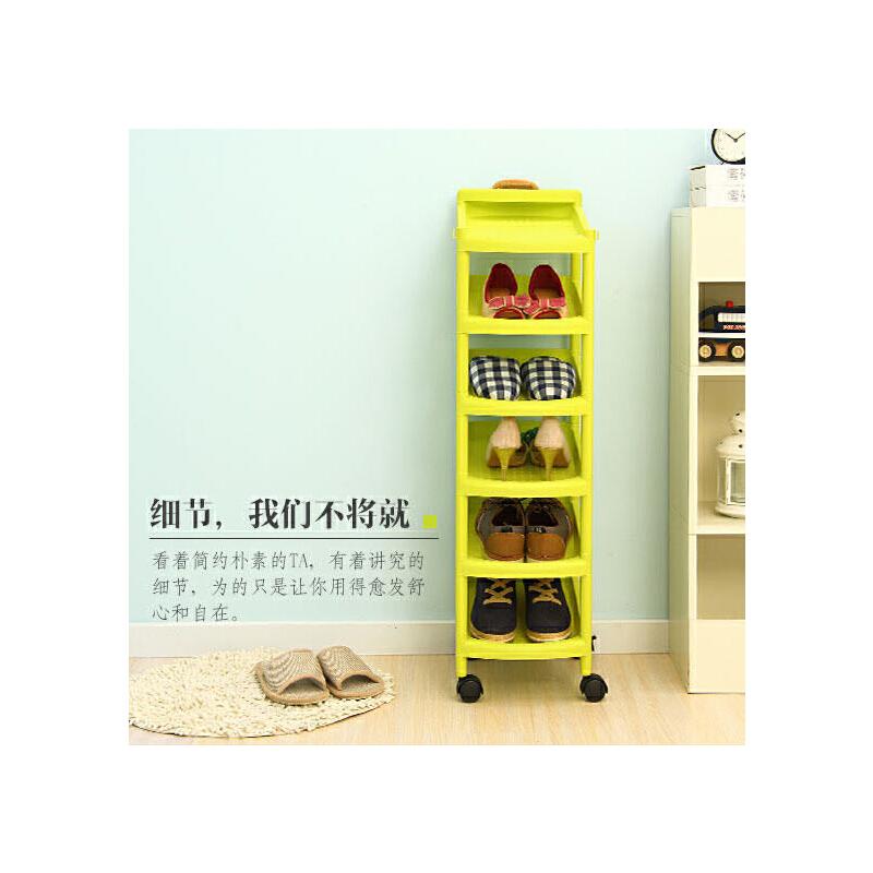 【领券】ORZ 时尚6层收纳鞋架 塑料带轮可移动鞋柜架 绿色十月特惠 领券满199减20 满299减40