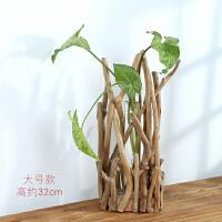 创意日式中式原木质摆件木制卧室房间装饰工艺品水培玻璃花插花瓶