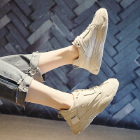 鞋子女冬2019百搭基础小白鞋女学生韩版休闲运动鞋厚底加绒老爹鞋 米色(收藏加购优先发货) 加绒小白鞋