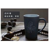 简约复古陶瓷杯子带盖勺景德镇马克杯咖啡杯手工雕刻水杯学生定制 款式一 四叶草(送勺 不送盖)