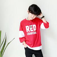 红色男童t恤春秋款长袖2018春装新款韩版儿童纯棉打底衫宝宝体恤
