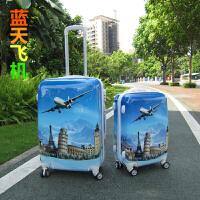 卡通图案拉杆箱男女24寸万向轮行李箱学生旅行箱涂鸦动漫密码箱20 蓝色 大飞机