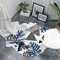 ???唯美清新北欧圆形地垫 吊篮转椅电脑椅垫 家用防滑可手洗地毯 蓝色芭蕉叶 图案a