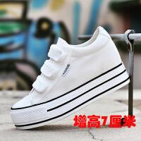 新款小白鞋帆布鞋女魔术贴松糕鞋学生厚底内增高女鞋春休闲鞋