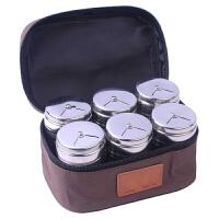 烧烤调料罐 户外野炊工具配件套装便携调味瓶调料盒烧烤调料组合装旋转式撒料罐洒粉器 咖啡色