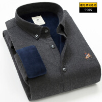 2018新品男士保暖衬衫加绒加厚冬季纯棉色纺纱磨毛长袖中年宽