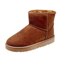 WARORWAR 2019新品YM128-806冬季韩版反绒皮平底鞋舒适女鞋潮流时尚潮鞋百搭潮牌短靴雪地靴
